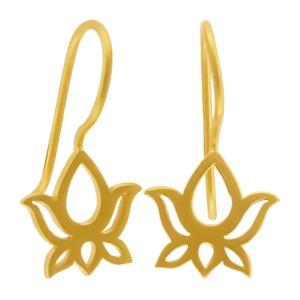 Gold Ear Hook - Openwork Lotus 22x11mm