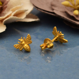 24K Gold Plated Tiny Bee Post Earrings 6x8mm