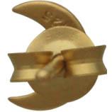 Gold Earrings - Moon Post Earrings with 24K Gold Plate 7x5mm