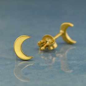Gold Earrings - Moon Post Earrings with 24K Gold Plate 7x5mm
