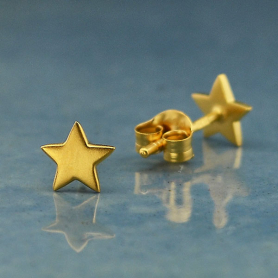 Gold Earrings - Star Post Earrings with 24K Gold Plate 6x6mm