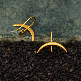 24K Gold Plated Ear Hooks with Ridged Crescent Moon 17x19mm