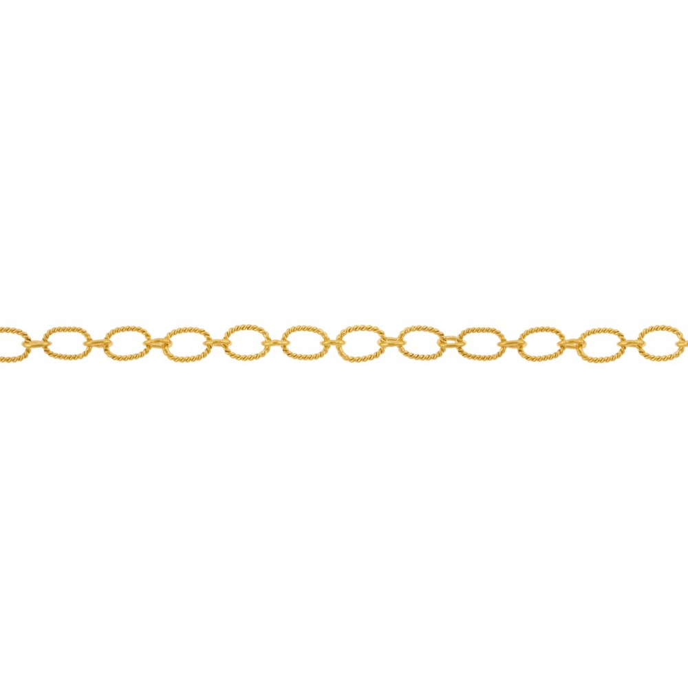 Gold Chain - Scored Oval Links with 24K Gold Plate