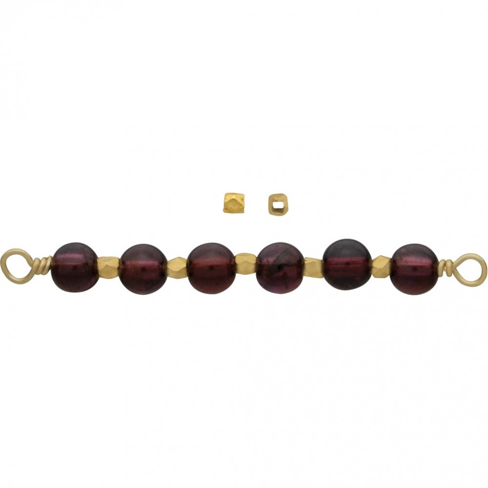 Gold Spacer Bead - Small Faceted with 24K Gold Plate 2mm