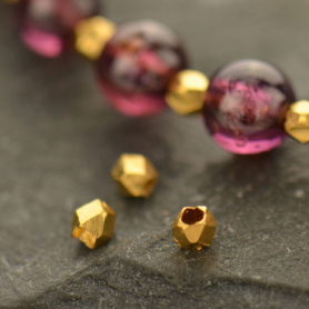 Gold Spacer Bead - Small Faceted with 24K Gold Plate
