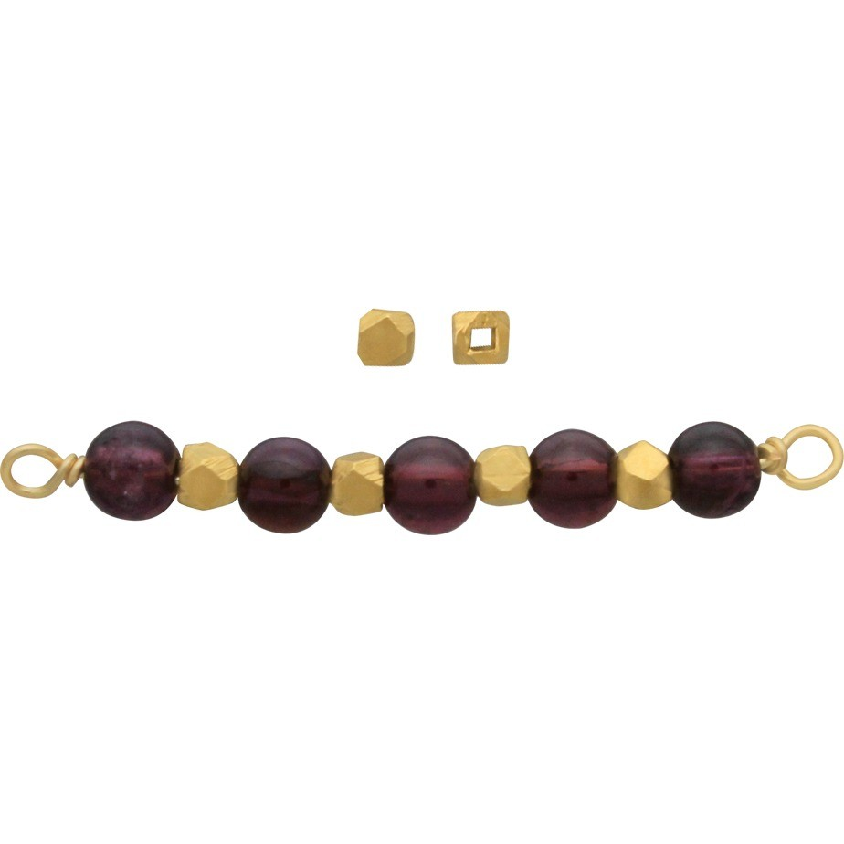 Gold Spacer Beads - Medium Faceted with 24K Gold Plate