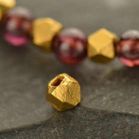 Gold Spacer Beads - Large Faceted with 24K Gold Plate
