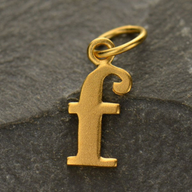Gold Plated Typewriter Letter Charm F DISCONTINUED