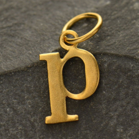 Gold Plated Typewriter Letter Charm P