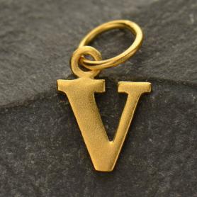 Gold Plated Typewriter Letter Charm V