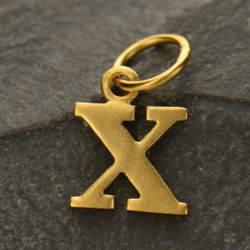 Gold Plated Typewriter Letter Charm X