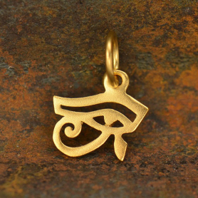 Gold Charm - Eye of Horus with 24K Gold Plate 15x15mm