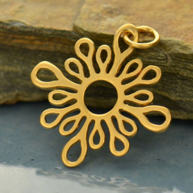 Gold Pendant -  Abstract Sun with 24K Gold Plate 25x21mm