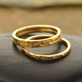Hammered Stacking Ring in 24K Gold Plate