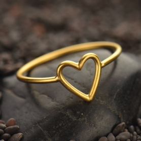 Open Heart Ring with 24K Gold Plate