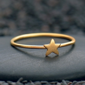 Tiny Star Ring with 24K Gold Plate