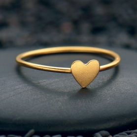 Tiny Heart Ring with 24K Gold Plate