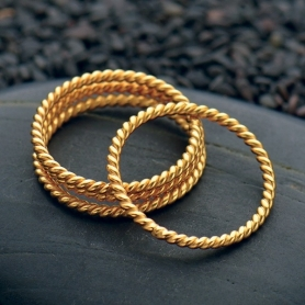 Twisted Wire Ring with 24K Gold Plate