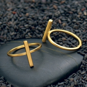 Bar Ring with 24K Gold Plate