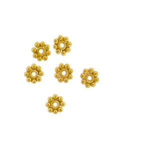 Gold Spacer Bead - Granulated Dots in 24K Gold Plate 4x4mm