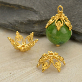 Gold Plated Bead Cap - Filigree Flower Shape
