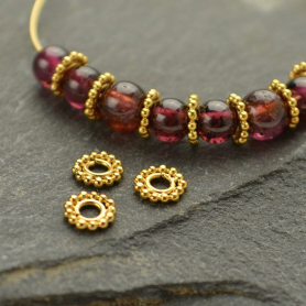 Gold Spacer Bead with Ring of Granulation in 24K Gold Plate
