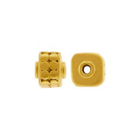 Gold Bead - Cube with Circles in 24K Gold Plate 6x5mm