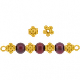24K Gold Plated Spacer Bead - Five Granulated Dots 4x4mm