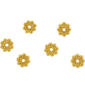 24K Gold Plated Spacer Bead - Large Granulated Dots 4x1mm