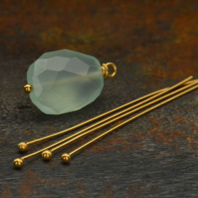 Gold Head Pin - 24 Gauge with 24K Gold Plate 37x2mm
