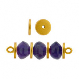 Gold Spacer Beads - Large Flat Spacer with 24K Gold Plate