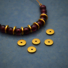 Gold Spacer Bead - Small Flat Spacer with 24K Gold Plate