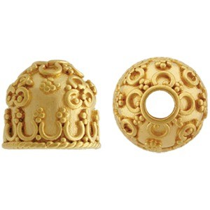 Gold Domed Cone Cord End with 24K Gold Plate 12x10mm