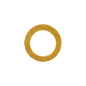 24K Gold Plated Sm Hammered Circle Link 11x11mm