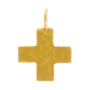 Gold Charm - Hammered Cross with 24K Gold Plate