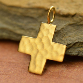 Gold Charm - Hammered Cross with 24K Gold Plate 20x15mm