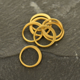 24K Gold Plated Half Hammered Circle Jewelry Link 9mm