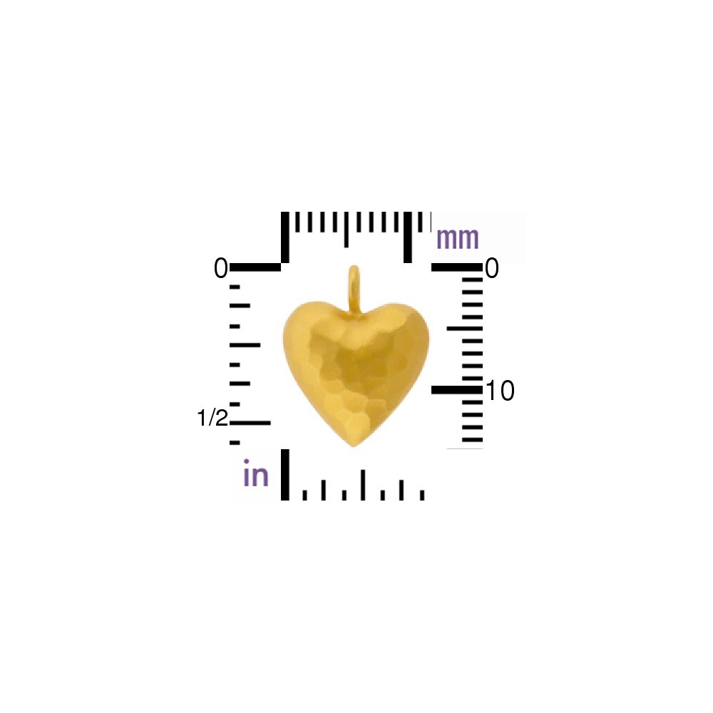 Gold Charm - Small Puffed Heart in 24K Gold Plate 15x12mm