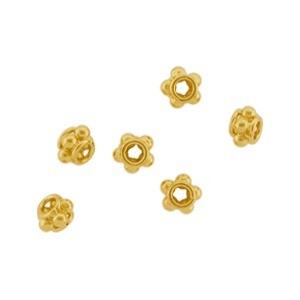 Tiny Satin 24K Gold Plated Sterling Silver Spacer Bead 4x2mm