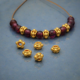Tiny Satin 24K Gold Plated Sterling Silver Spacer Bead