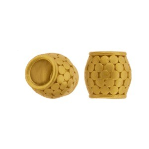 24K Gold Plated Large Hole Bead with Granulation 8x8mm
