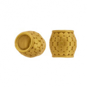 Gold Large Hole Bead with Granulation in 24K Gold Plate