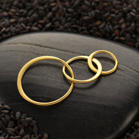 24K Gold Plate Three Circles of Life Link -37mm
