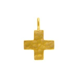 Gold Charm -Small Hammered Cross with 24K Gold Plate 14x10mm