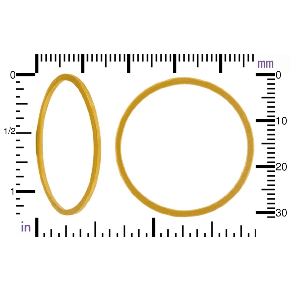 24K Gold Plated Hammered Circle Link 30x30mm