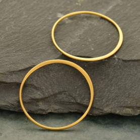 24K Gold Plated Half Hammered Circle Jewelry Link 28mm