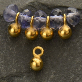 Gold Charm - Small Round Dangle with 24K Gold Plate 5x3mm