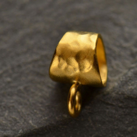 Gold Bail - Short Hammered Slider with 24K Gold Plate 9x6mm