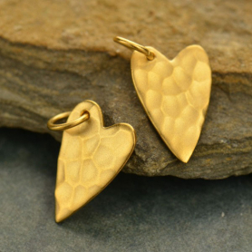 Gold Charm - Hammered Heart with 24K Gold Plate