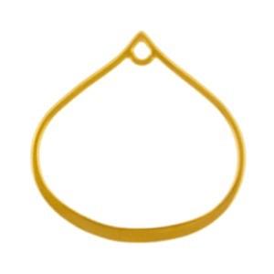 24K Gold Plate Wide Bottom Teardrop Link with Loop 20x19mm